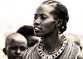 KENYA, AFRICA - NOVEMBER 8: Portrait of Samburu woman wearing traditional handmade accessories, revi