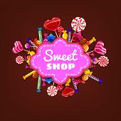 Candy Sweet Shop Template Set Of Different Colors Of Candy, Candy, Sweets, Chocolate Candy, Jelly Be poster