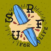 Surfing Surf Themed  With Surfboard Longboard  Hand Drawn Traditional Old School Tattoo Aesthetic Fl poster