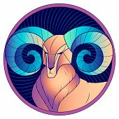 Aries Zodiac Sign, Astrological, Horoscope Symbol. Futuristic Style Icon. Stylized Graphic Portrait  poster