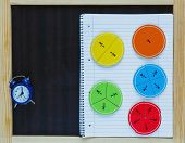 Colorful Fun Math Fractions On A Chalk Board And Blue Clock. Interesting Math For Kids. Education, G poster