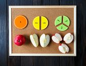 Colorful Math Fractions On Board. Interesting Math For Kids. Education, Back To School Concept. Geom poster
