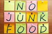 stock photo of junk food  - No junk food words made by post it - JPG