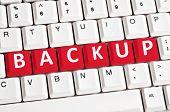 Backup word on white keyboard