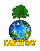 Earth Day Globe Graphic Over White