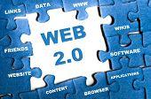 Web 2.0 blue puzzle pieces assembled