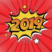 2019 New Year Comic Book Style Postcard Or Greeting Card Element. Vector Illustration In Pop Art Ret poster