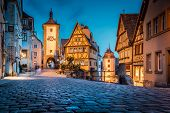 Classic View Of The Medieval Town Of Rothenburg Ob Der Tauber Illuminated In Beautiful Evening Twili poster