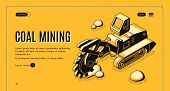 Coal Mining Isometric Vector Web Banner With Bucket-wheel Excavator Working In Quarry Line Art Illus poster