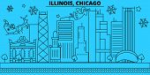 United States, Chicago Winter Holidays Skyline. Merry Christmas, Happy New Year Decorated Banner Wit poster