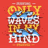 Surfing Surf Themed T Shirt Print Design Hand Drawn Traditional Old School Tattoo Aesthetic Flesh Bo poster