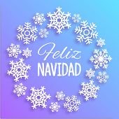 Feliz Navidad. Merry Christmas Card With Greetings In Spanish Language. Wreath Made Of White Snowfla poster