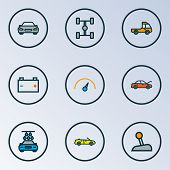 Automobile Icons Colored Line Set With Speedometer, Prime-mover, Wheelbase And Other Automobile Elem poster