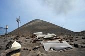 ANAK KRAKATAU, INDONESIA - 8 AUG: Violent eruptions totally destroy equipment used to read seismic a