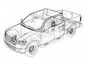 Car Suv Drawing Outline Or Blueprint. 3d Illustration poster