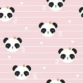 Seamless Pattern With Panda Princess. Cute Kids Print. Vector Hand Drawn Illustration. poster