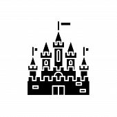 Princess Castle Black Icon, Vector Sign On Isolated Background. Princess Castle Concept Symbol, Illu poster