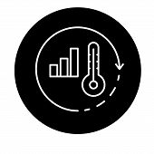 Global Warming Black Icon, Vector Sign On Isolated Background. Global Warming Concept Symbol, Illust poster