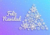 Feliz Navidad. Merry Christmas Card With Greetings In Spanish Language. Christmas Tree Made Of White poster