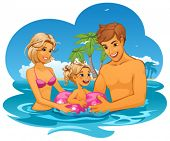 vector illustration of Family on vacation