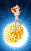 vector illustration of party queen on golden mirror ball