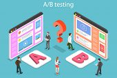 Isometric Flat Vector Concept Of Ab Testing, Split Test, A-b Comparison. poster