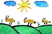 Niño real dibujo (7 años de edad) que retrata una escena rural