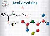 Acetylcysteine (n-acetylcysteine, Nac) Drug Molecule. Structural Chemical Formula And Molecule Model poster