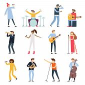 Musician Artists. Guitar Playing Artist, Young Drummer And Pop Song Singer. Musical Instruments Stag poster