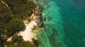 Aerial View Of Tropical Beach On The Island Bohol, Anda Area, Philippines. Beautiful Tropical Island poster