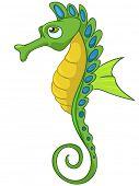 Cartoon personagem Seahorse isolado no fundo branco. Vector.