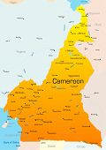 Abstract vector color map of Cameroon country