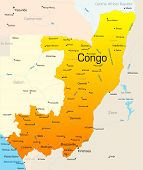 Abstract vector color map of Congo country