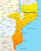Mapa de cor vetor abstrato de país de Moçambique