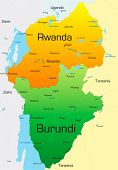 Abstract vector color map of Rwanda and Burundi country