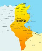 Abstract vector color map of Tunisia country
