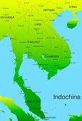 Vector map of Indochina country