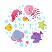 Cute Cartoon Sea Life Animals Isolated On White Background. Sea Animal, Ocean Fish Underwater Illust poster