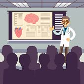 Medical Conference Vector Illustration. Smiling Doctor Makes A Presentation To The Public. Doctor Me poster