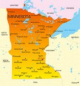 Vector color map of Minnesota state. Usa