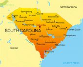 Vector color map of South Carolina state. Usa