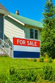 Real Estate Sign for Sale On Front Yard Of A House poster