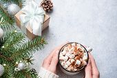 Hot Chocolate With Marshmallows, Gift Box, Pine Tree. Girl Holding Cup Of Hot Chocolate. Top View, C poster