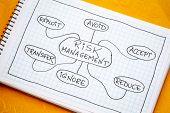 risk management flow chart or mindmap - a sketch on a spiral notebook poster