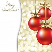 Christmas Card With Red Ball, Vector Illustration