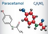 Paracetamol (acetaminophen) Drug Molecule. Structural Chemical Formula And Molecule Model. Vector Il poster