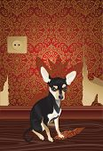 foto of megalomania  - Vector illustration of the cheeky cute dog with fragment of a  wallpaper - JPG