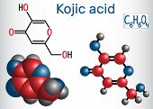 Kojic Acid Molecule. Used For Skin Depigmentation In Cosmetics. Structural Chemical Formula And Mole poster