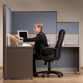 Businesswoman sitting at desk in cubicle and reviewing paperwork