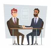 Sign Contract. Business Meeting Selling Deal Traders Dialogue Partnership Vector Cartoon Characters  poster